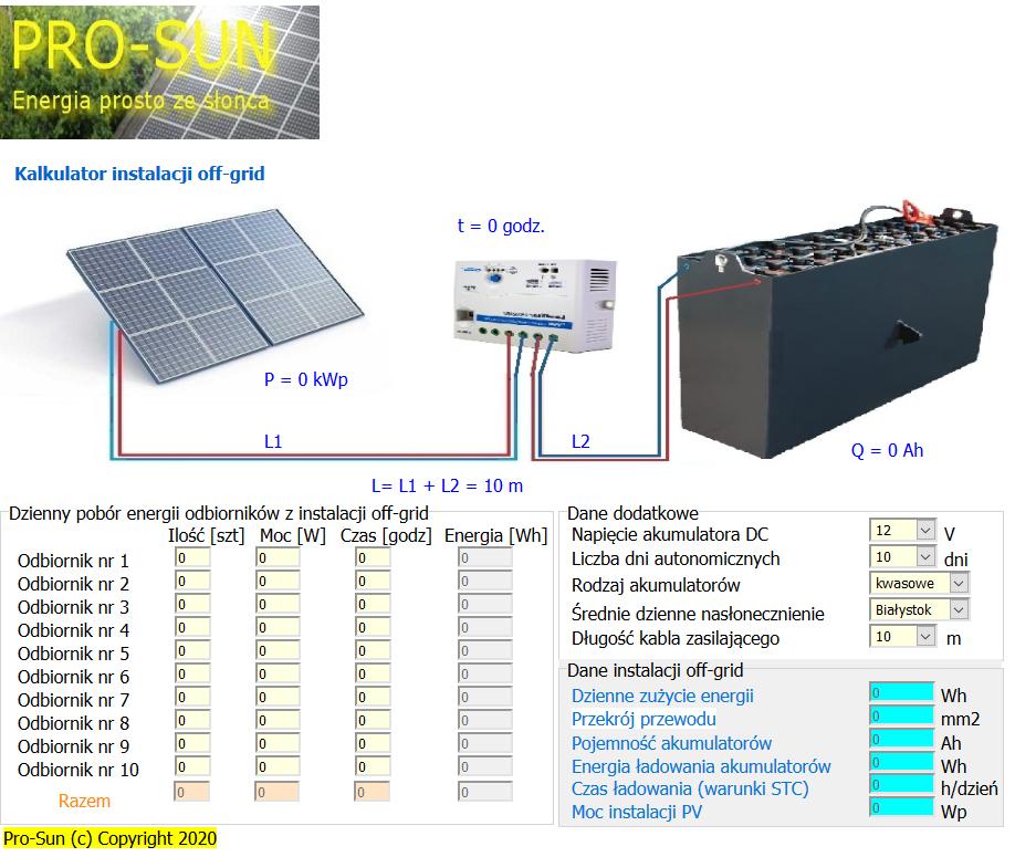 Kalkulator instalacji off grid